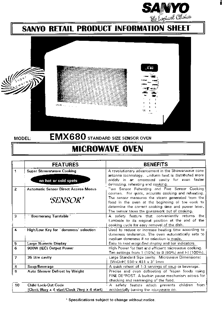 SANYO EM-X680 SM Service Manual download, schematics