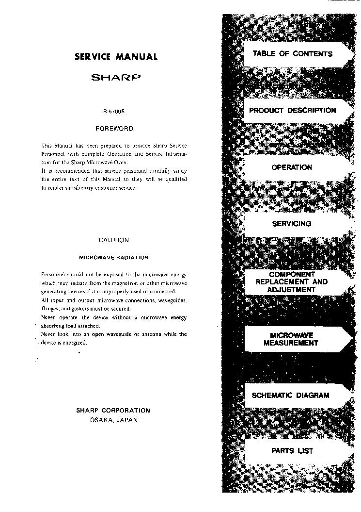 SHARP R-5700E SM Service Manual download, schematics