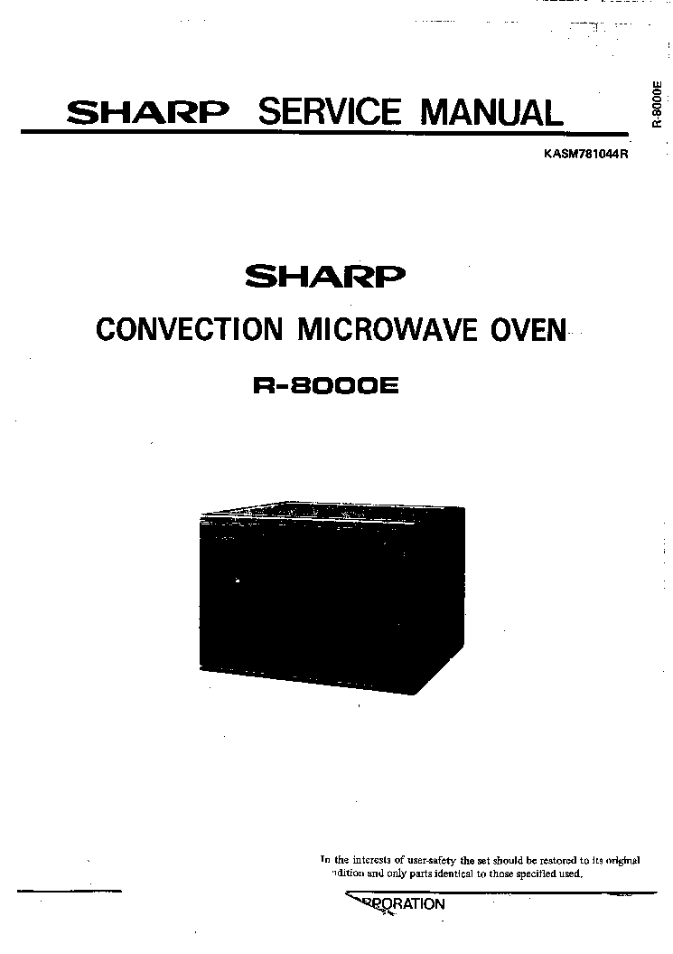 SHARP R-8000E SM Service Manual download, schematics