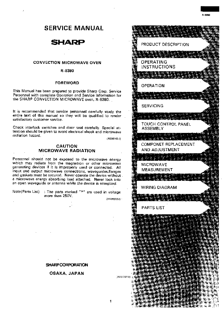 SHARP R-8380 Service Manual download, schematics, eeprom