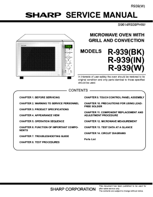 SHARP R939 BK IN W MICROWAVE OVEN SM Service Manual