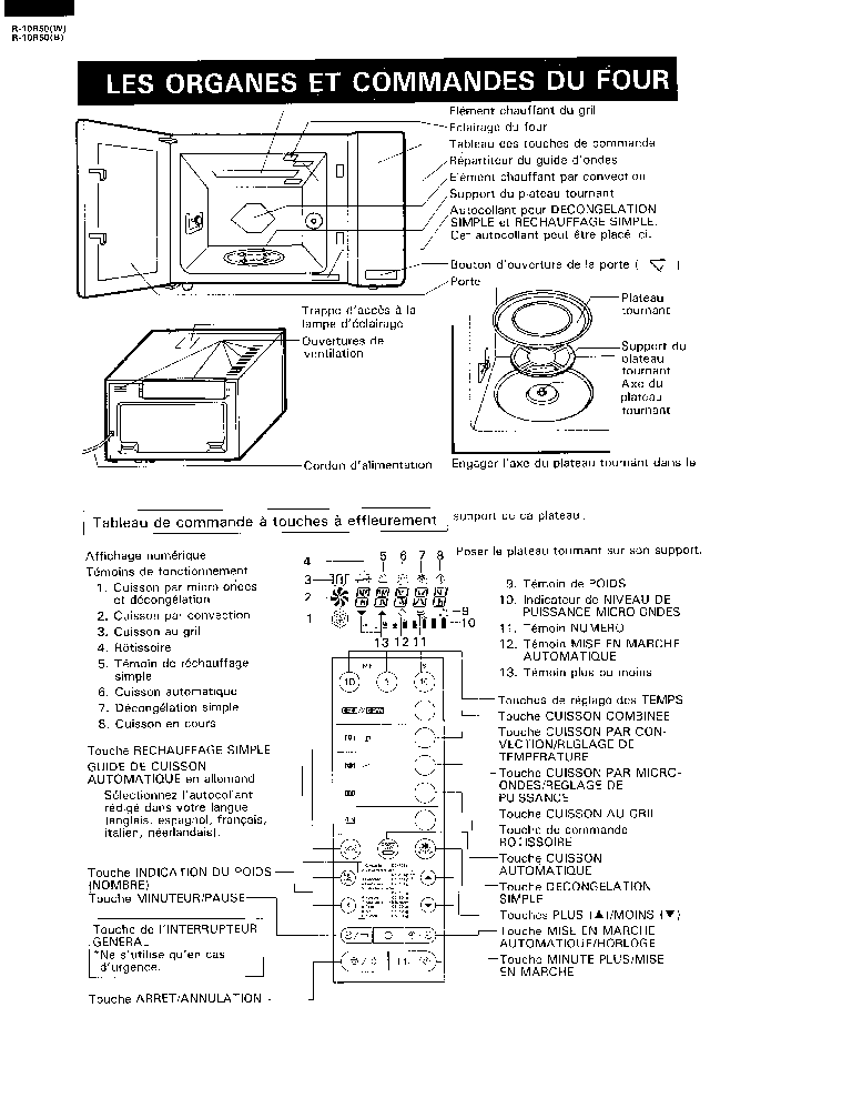 SHARP R10R50 Service Manual download, schematics, eeprom