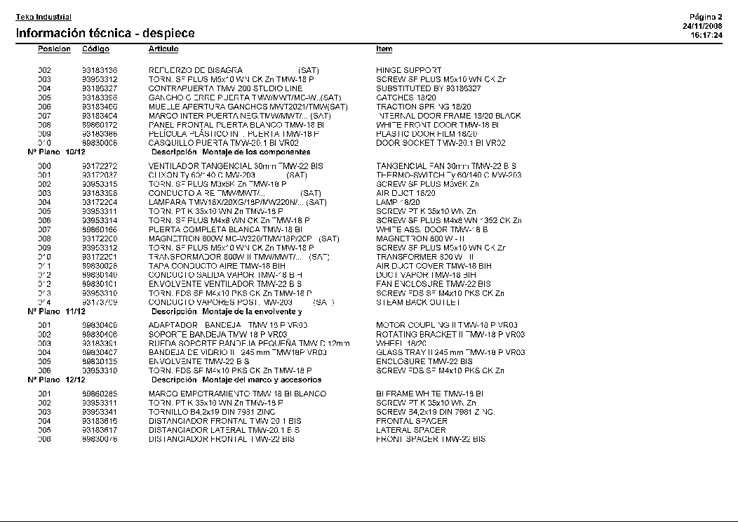 TEKA TMW-18 BI BLANCO Service Manual download, schematics