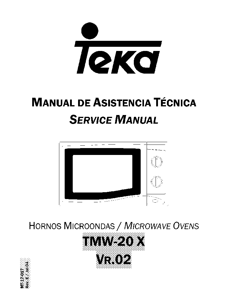 TEKA TMW-20 X VR02 Service Manual download, schematics