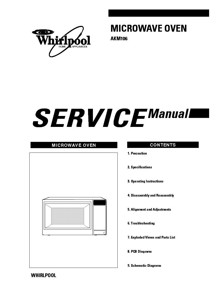 WHIRLPOOL AKM106 SM Service Manual download, schematics