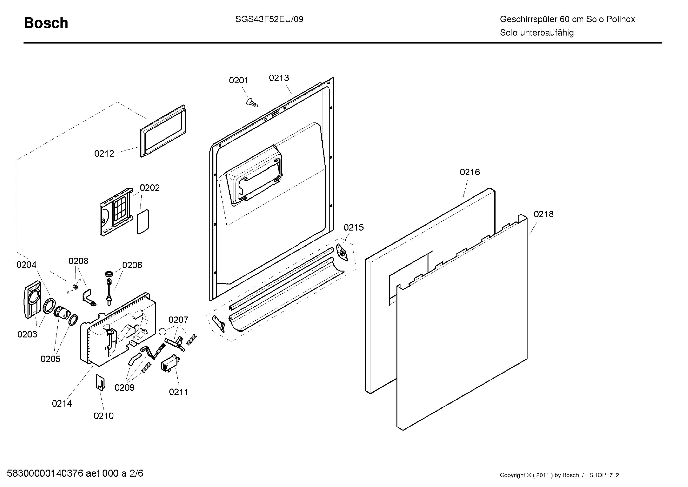 BOSCH SGS43F52EU-09 Service Manual download, schematics