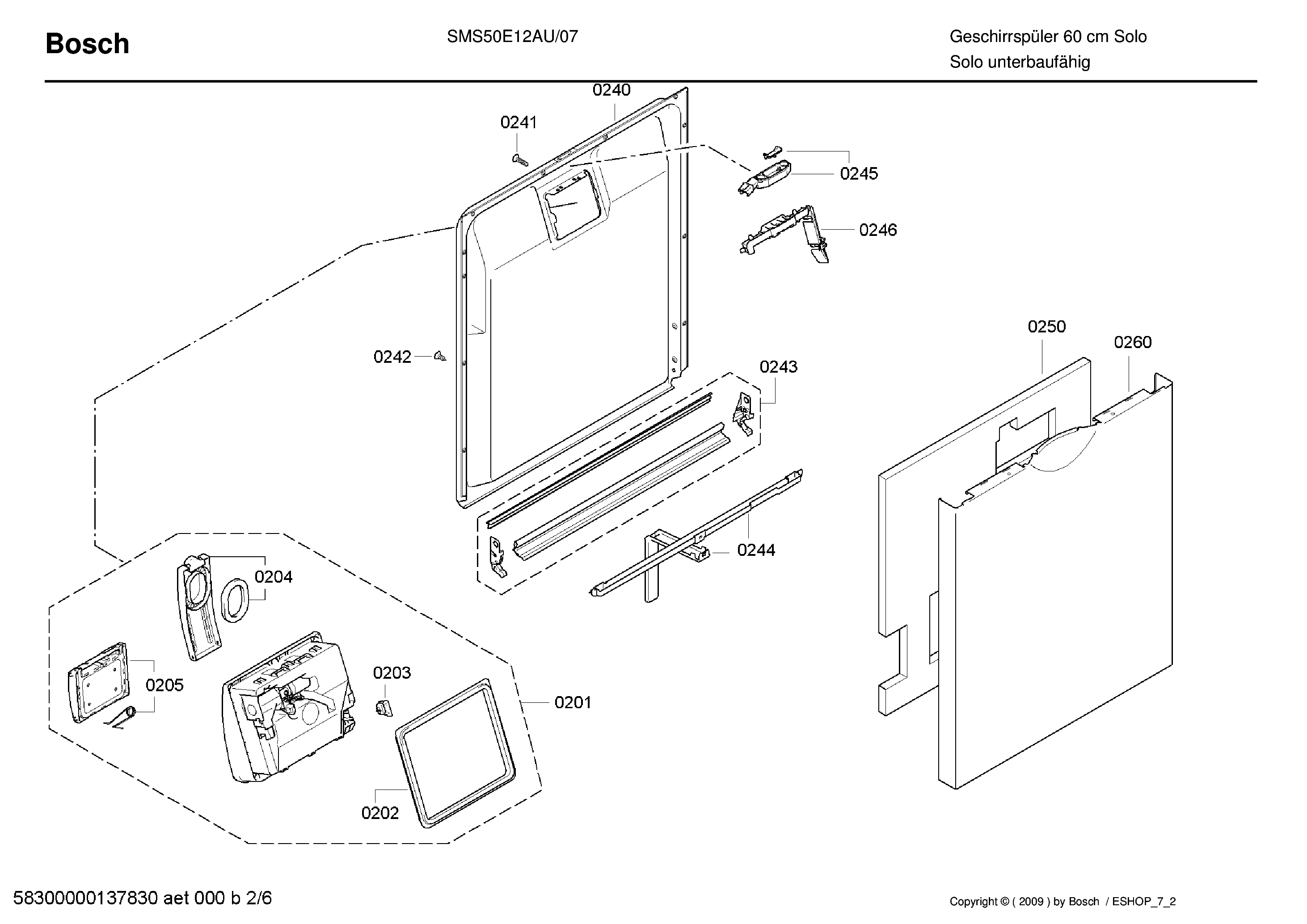 BOSCH SMS50E12AU-07 DISHWASHER EXPLODEDVIEW Service Manual