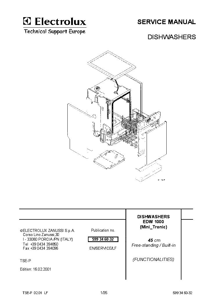 ELECTROLUX EDW1000 DISHWASHER SM EN Service Manual