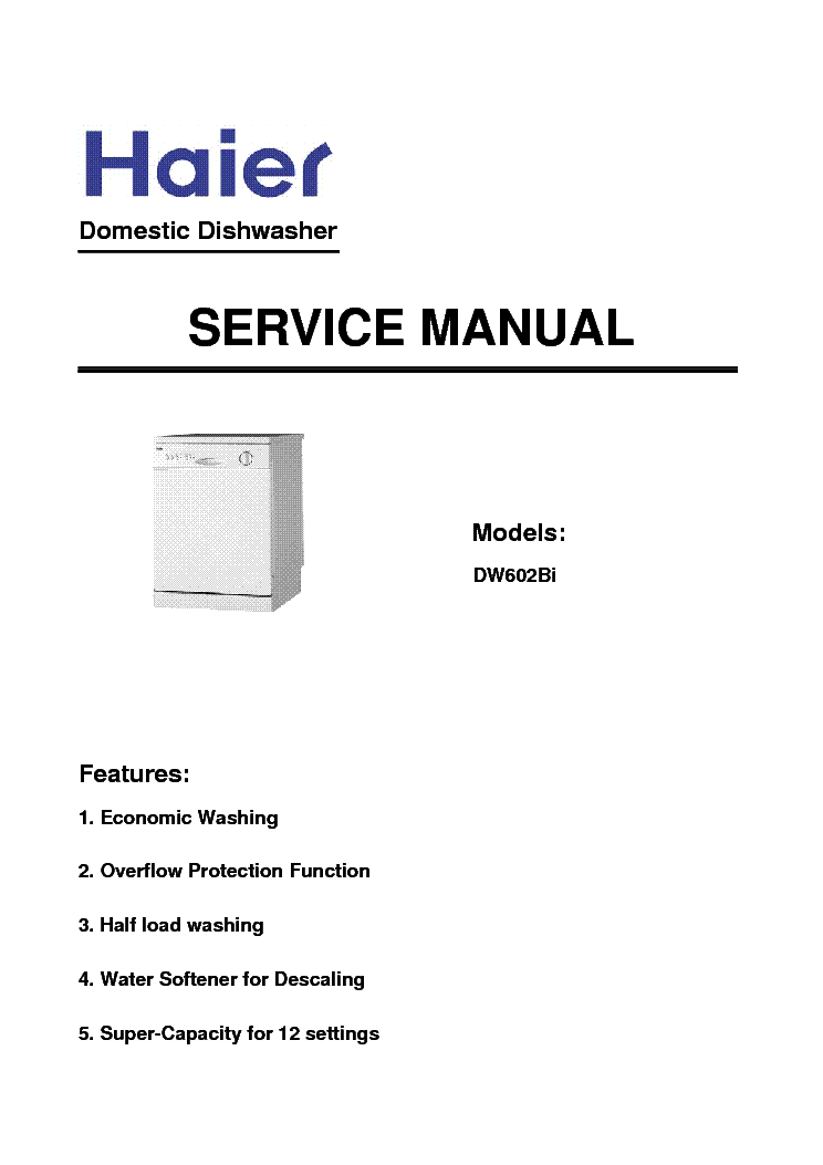 HAIER DW12-AFM4ME DW602BI DISHWASHER Service Manual