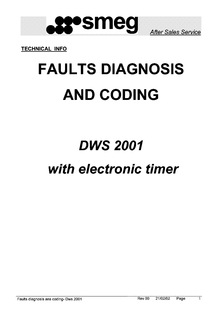 SMEG DWS2001 PCB FAULT CODES Service Manual download