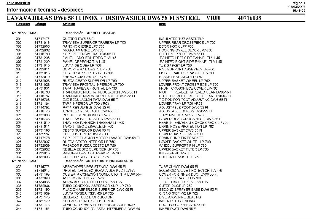 TEKA DW6-58 FI Service Manual download, schematics, eeprom