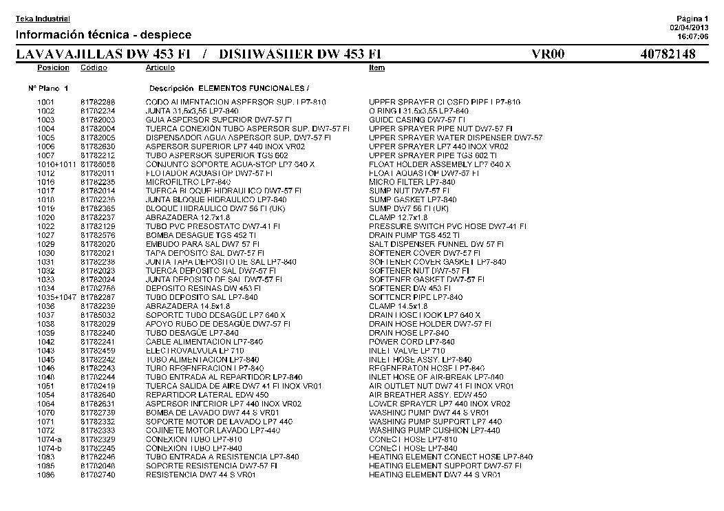 TEKA DW 453 FI Service Manual download, schematics, eeprom