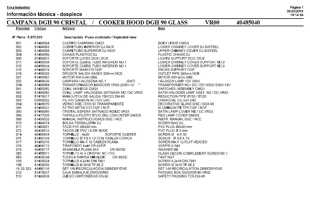 TEKA DGH 90 CRISTAL Service Manual download, schematics
