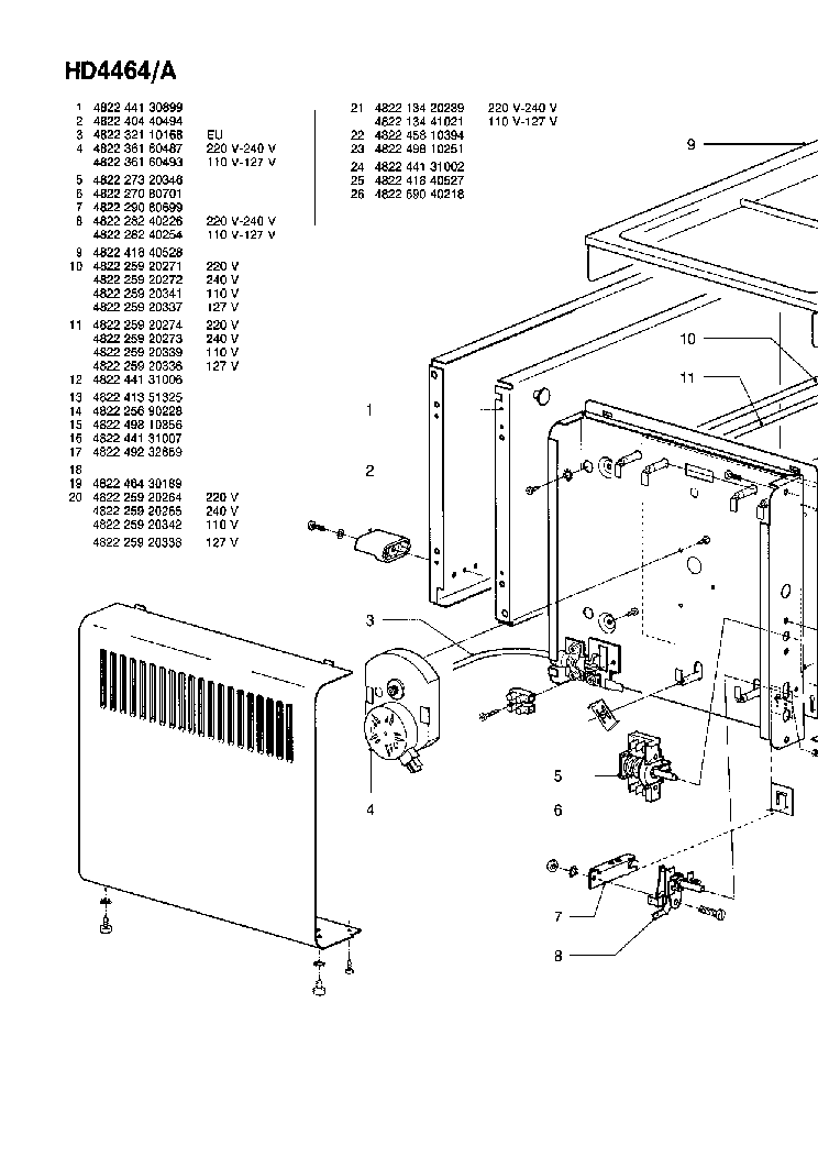 PHILIPS HD4464A Service Manual download, schematics