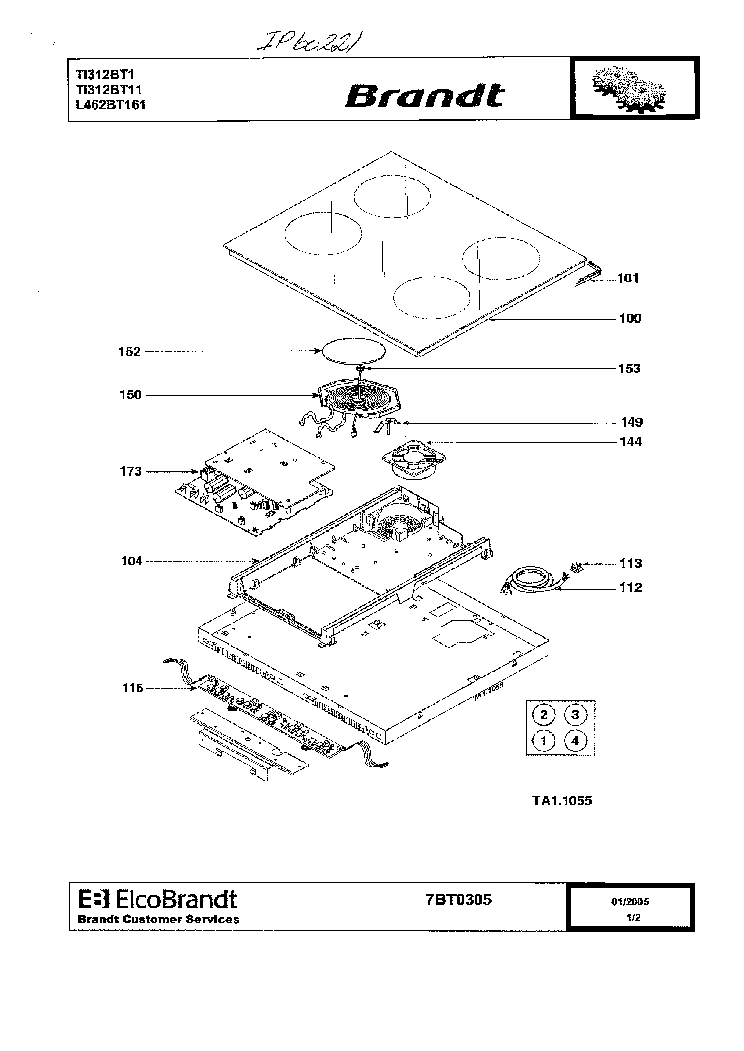 BRANDT IP60221 EXPLODED VIEW Service Manual download