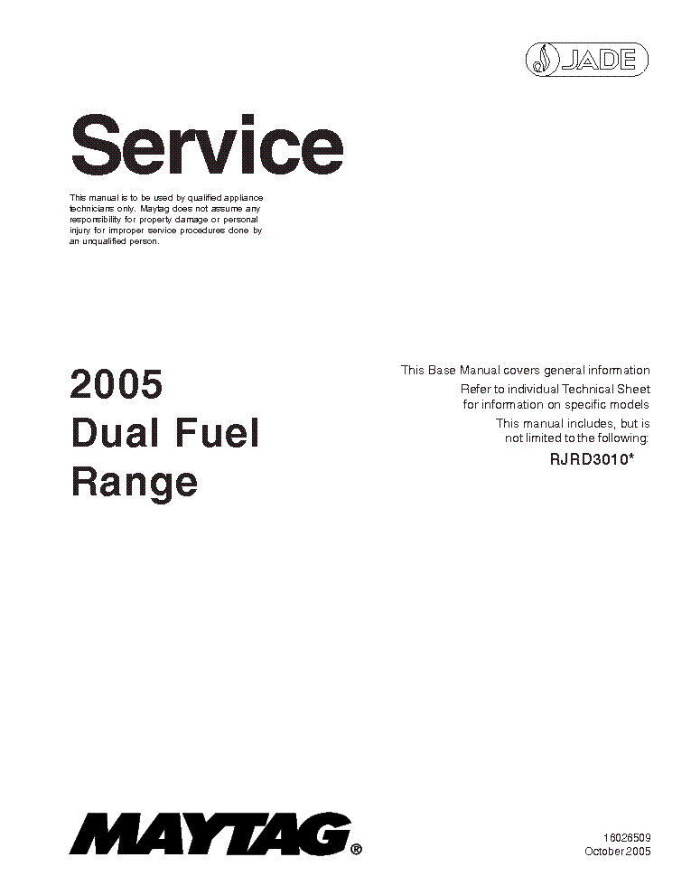 MAYTAG DUEL FUEL RANGE 2005 Service Manual download