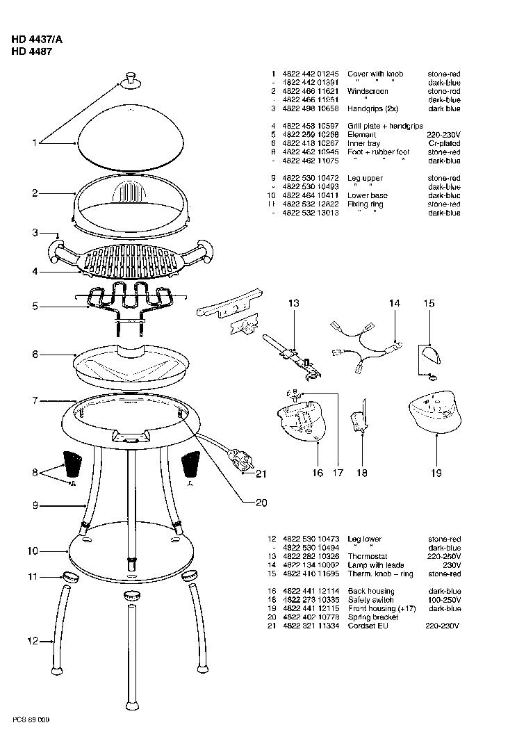 PHILIPS HD4437A Service Manual download, schematics