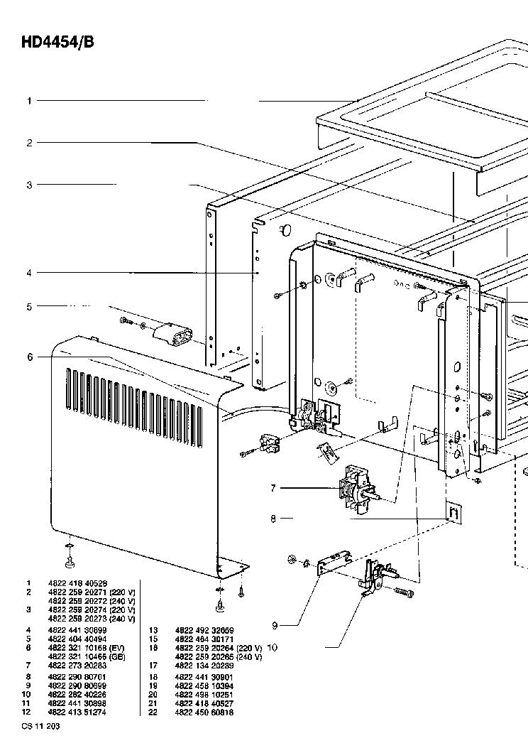 PHILIPS HD4454B Service Manual download, schematics