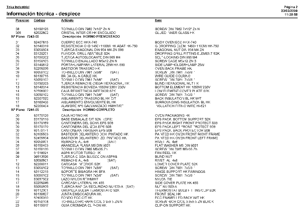 TEKA HKX-740 VR00 Service Manual download, schematics