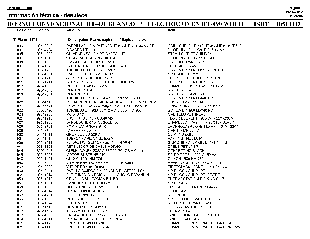 TEKA HT 490 Service Manual download, schematics, eeprom
