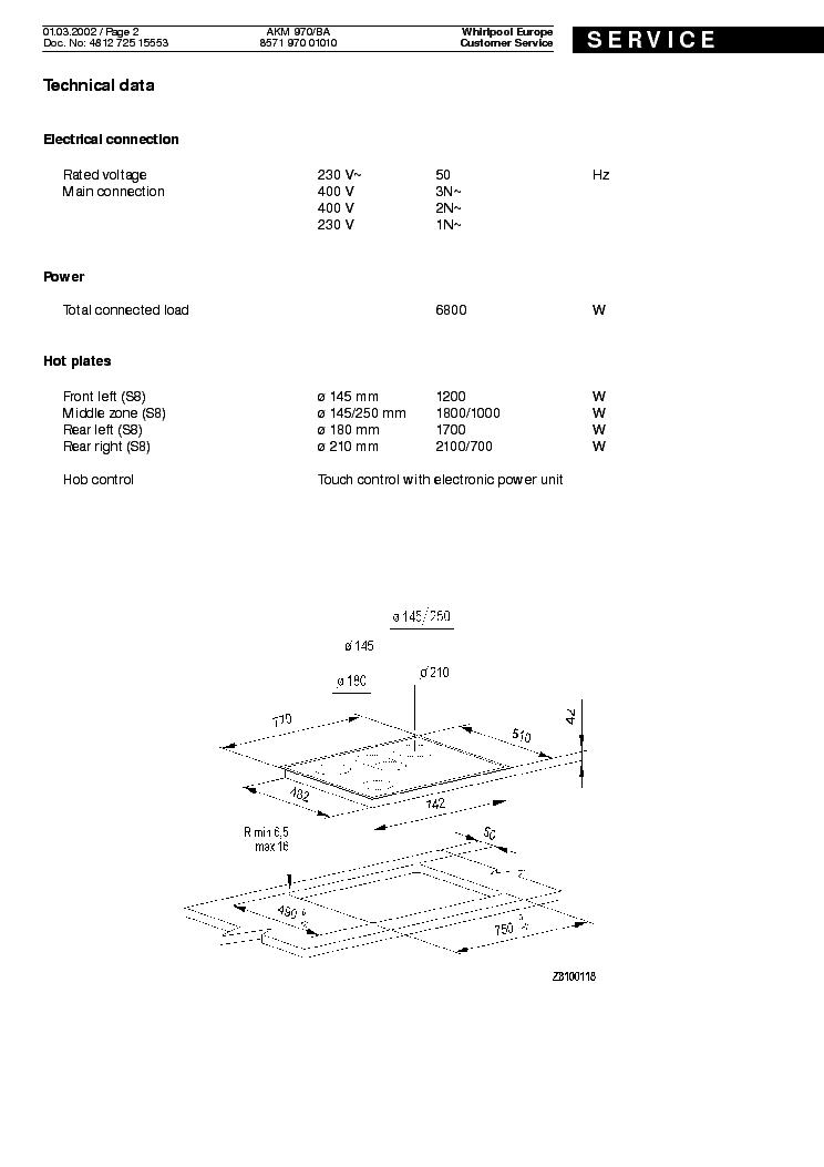 WHIRLPOOL AKM970BA Service Manual download, schematics