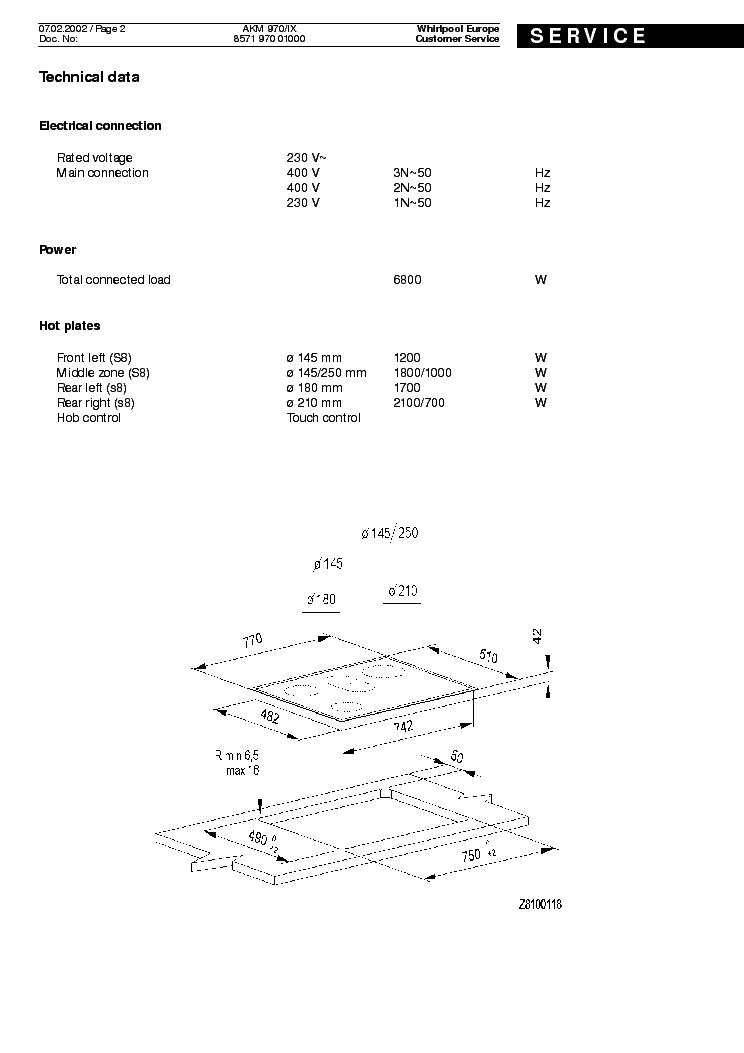 WHIRLPOOL AKM 970 IX Service Manual download, schematics