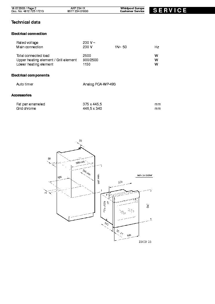 WHIRLPOOL AKP 234 IX Service Manual download, schematics
