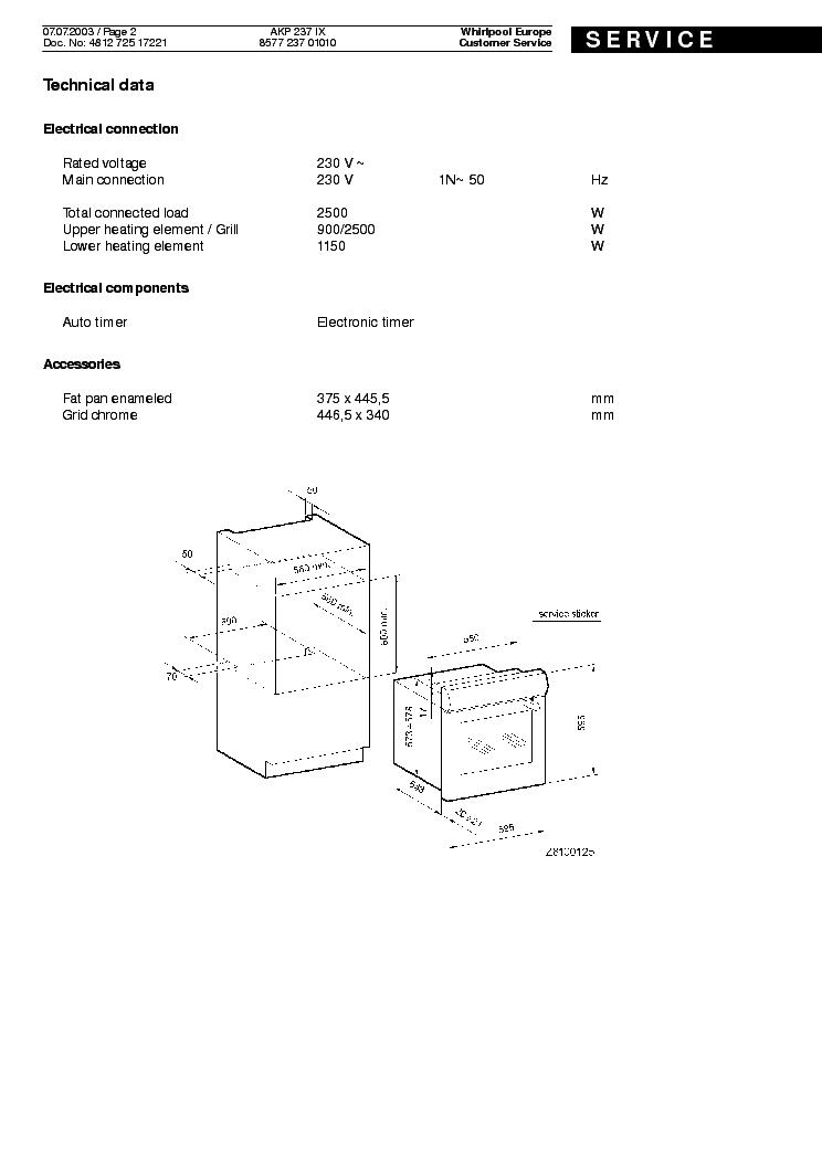WHIRLPOOL AKP 237 IX Service Manual download, schematics