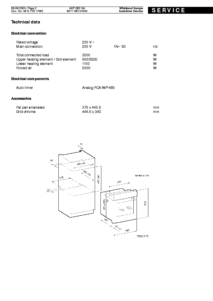 WHIRLPOOL AKP 282 NA Service Manual download, schematics