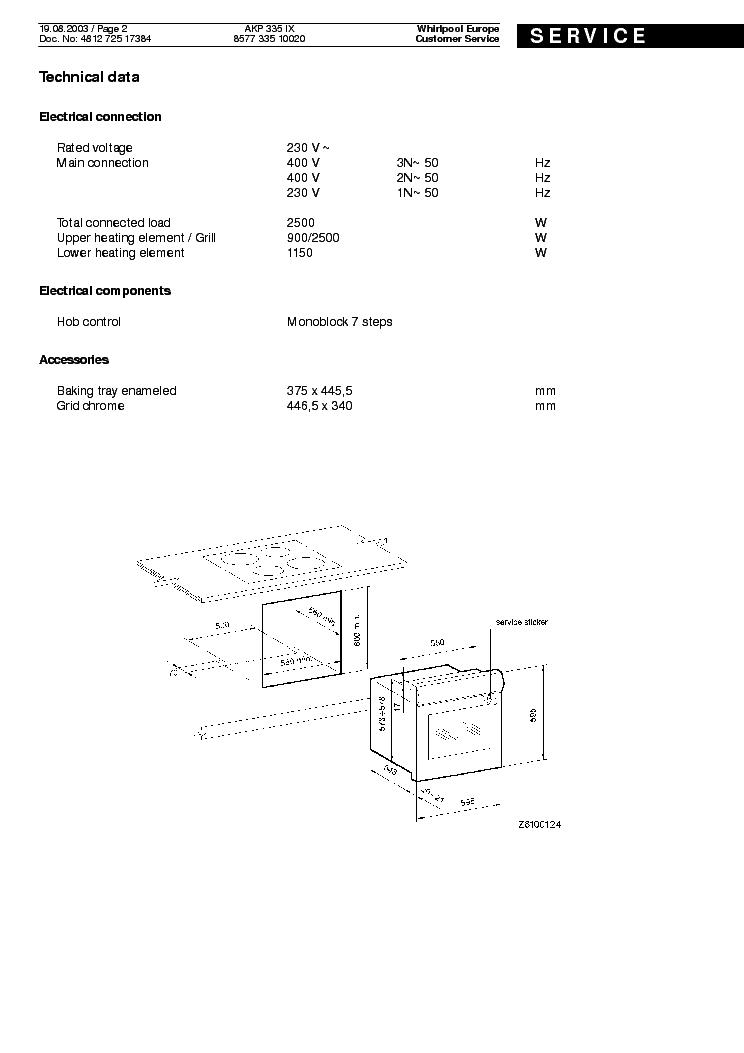 WHIRLPOOL AKP 335 IX Service Manual download, schematics