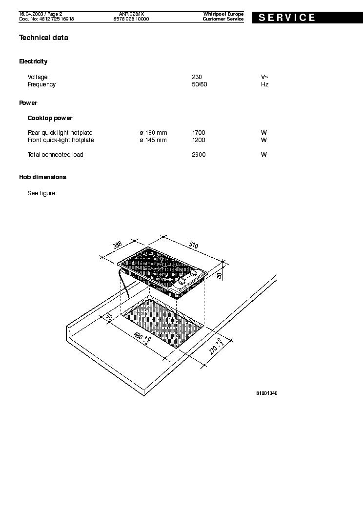 WHIRLPOOL AKR 028 IX Service Manual download, schematics