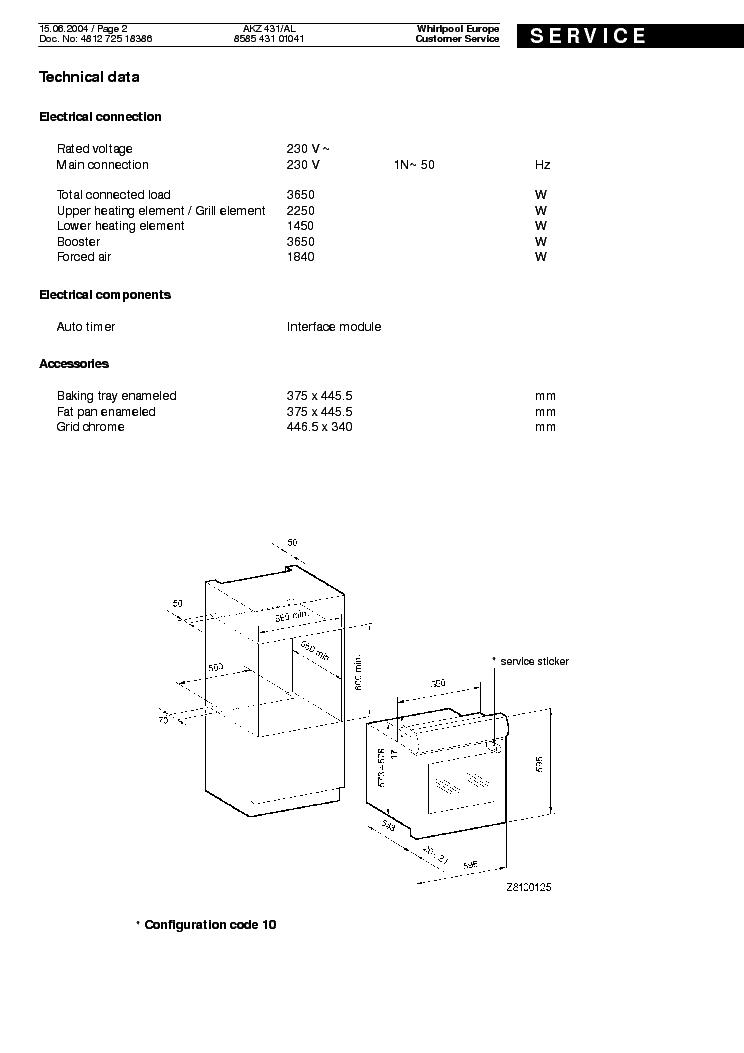 WHIRLPOOL AKZ431AL Service Manual download, schematics