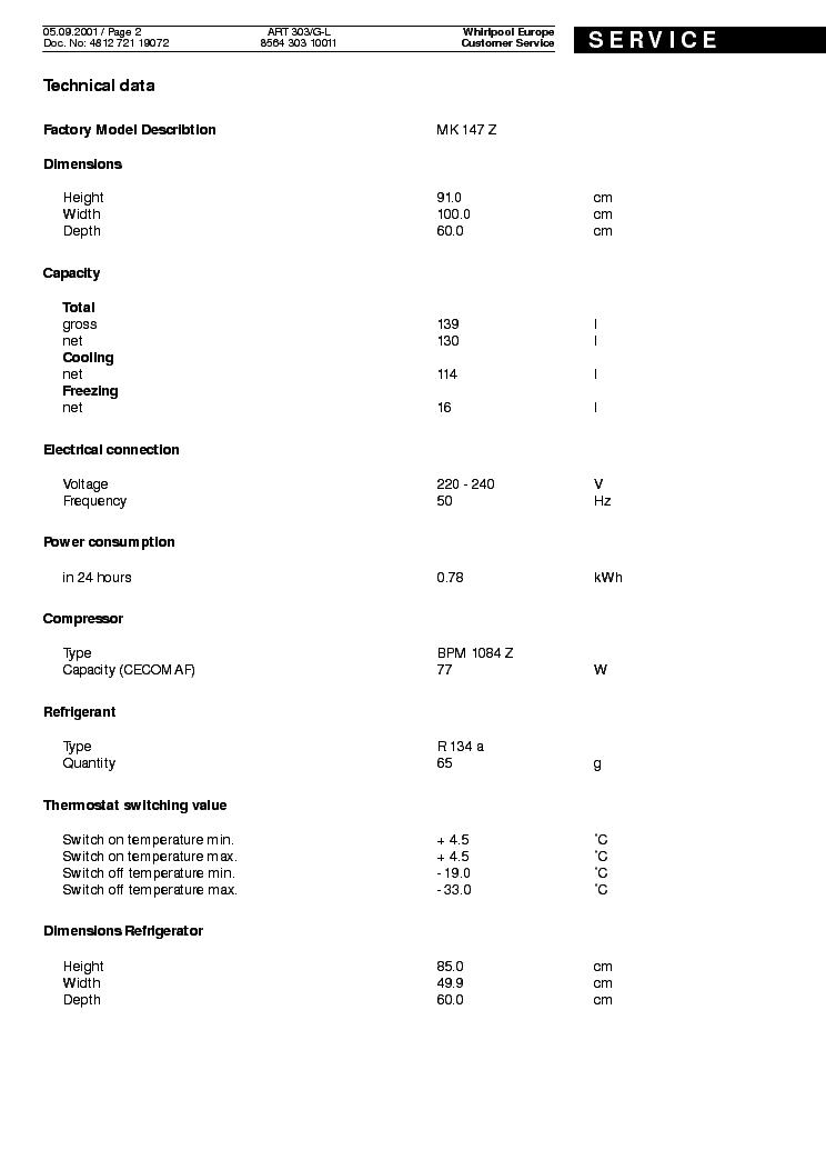 WHIRLPOOL ART303G-L Service Manual download, schematics