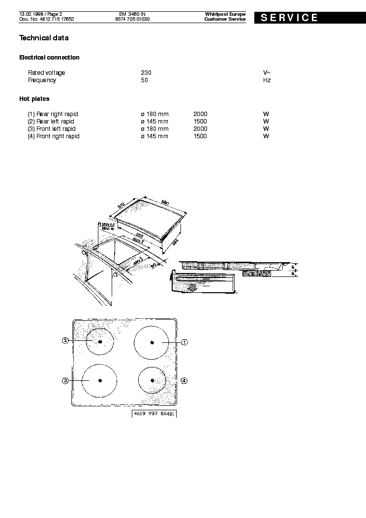 WHIRLPOOL EM3460IN Service Manual download, schematics