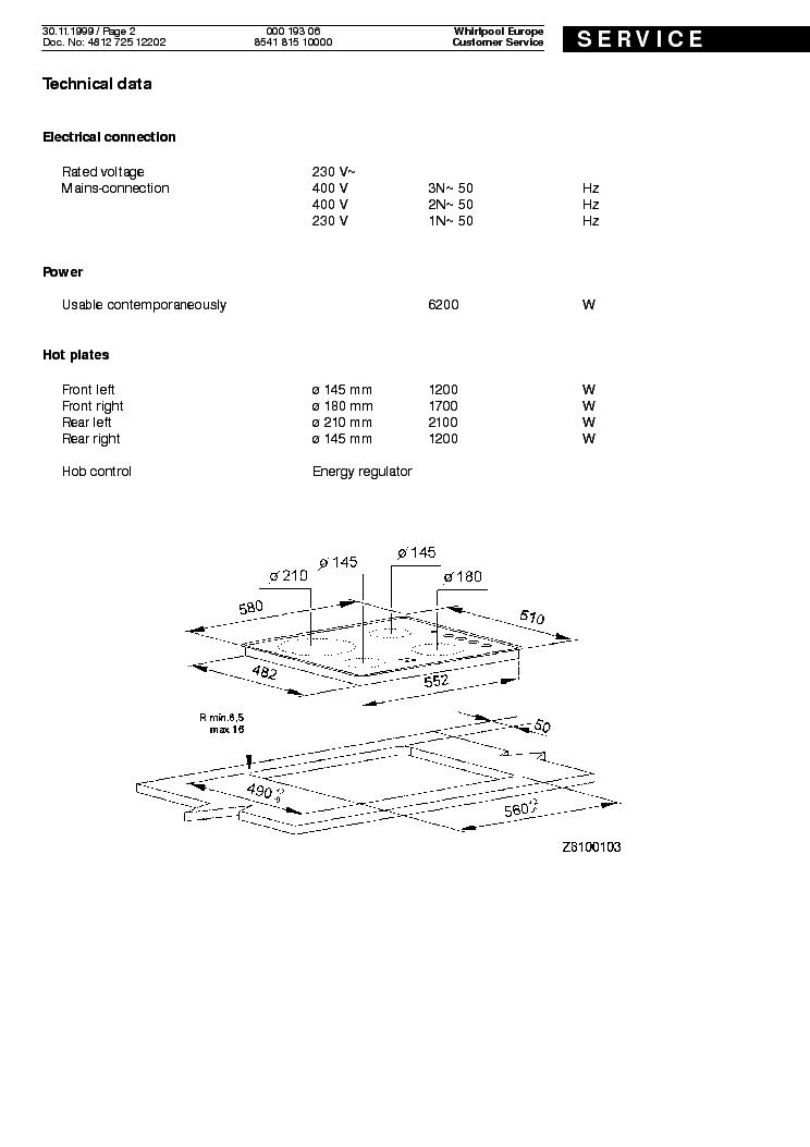 WHIRLPOOL IKEA 000 193 06 HOB 926 B Service Manual