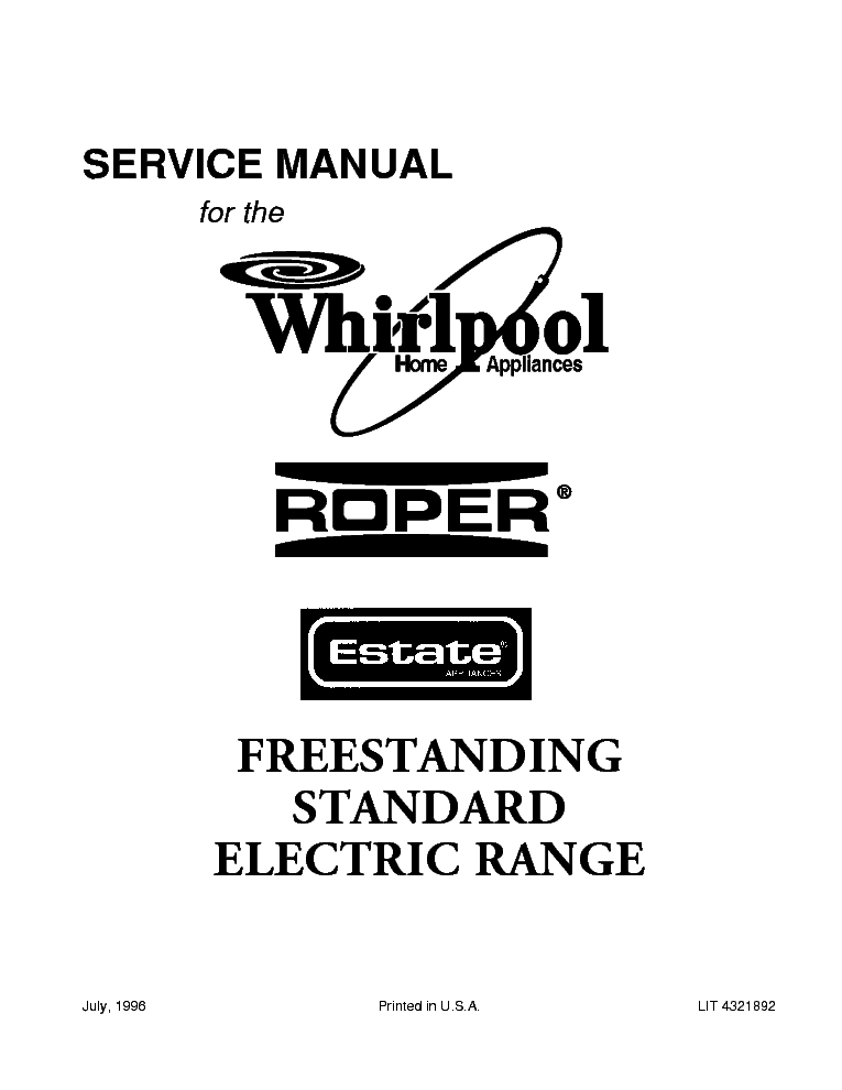 WHIRLPOOL ROPER AND ESTATE FREESTANDING STANDARD ELECTRIC