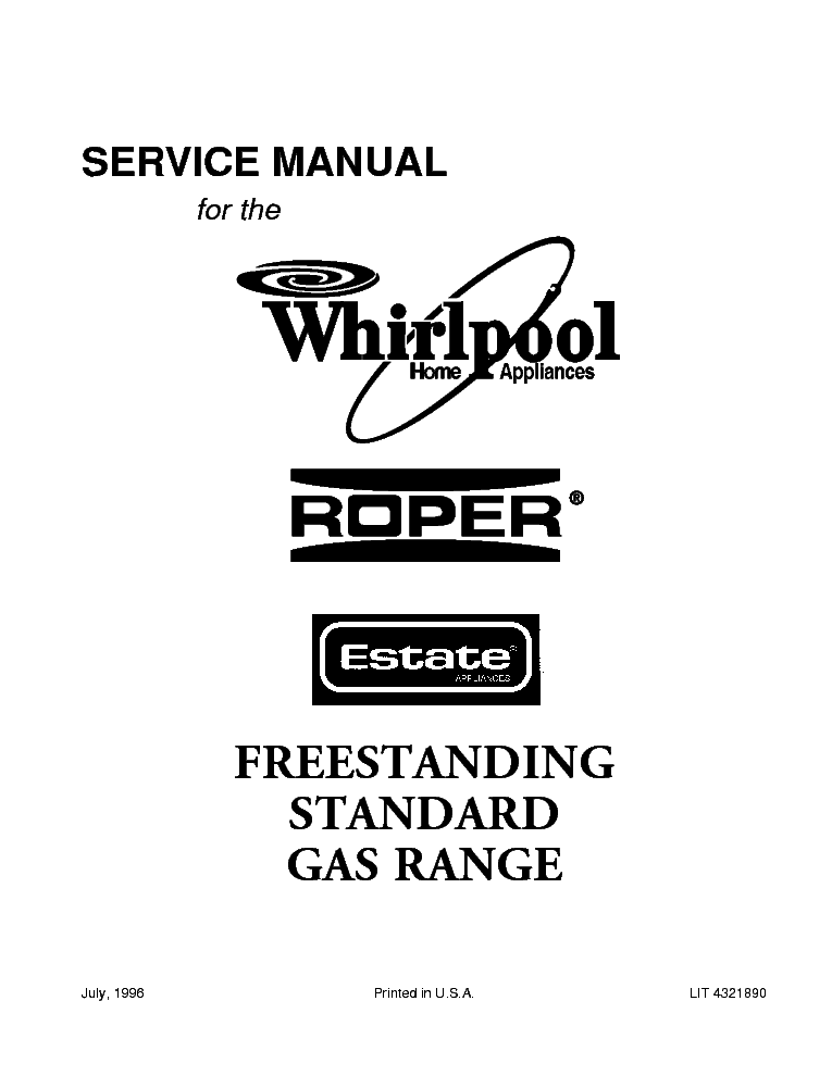 WHIRLPOOL ROPER AND ESTATE FREESTANDING STANDARD GAS RANGE