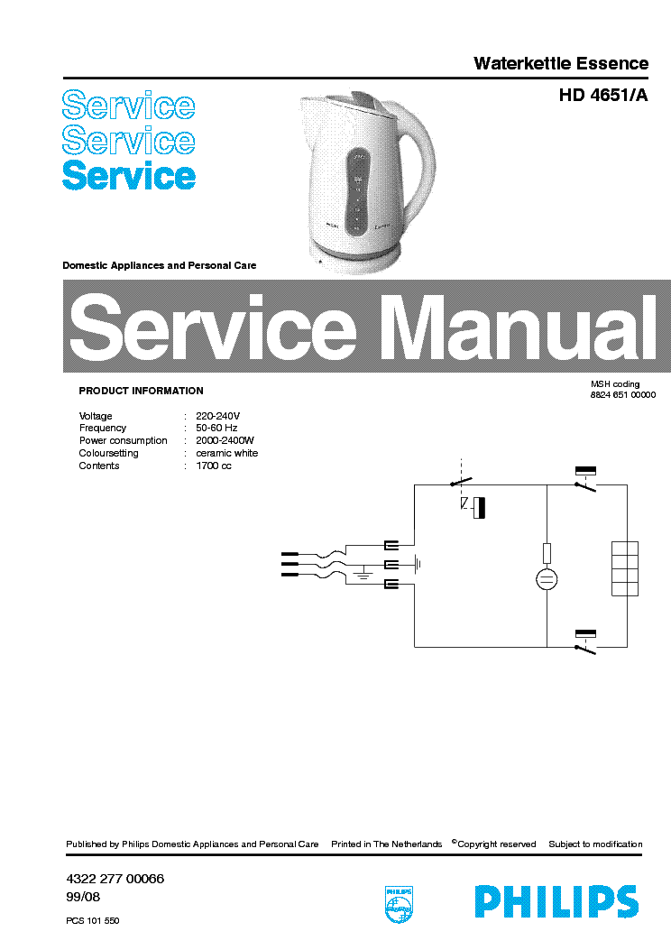 PHILIPS HD5400-B SM Service Manual free download
