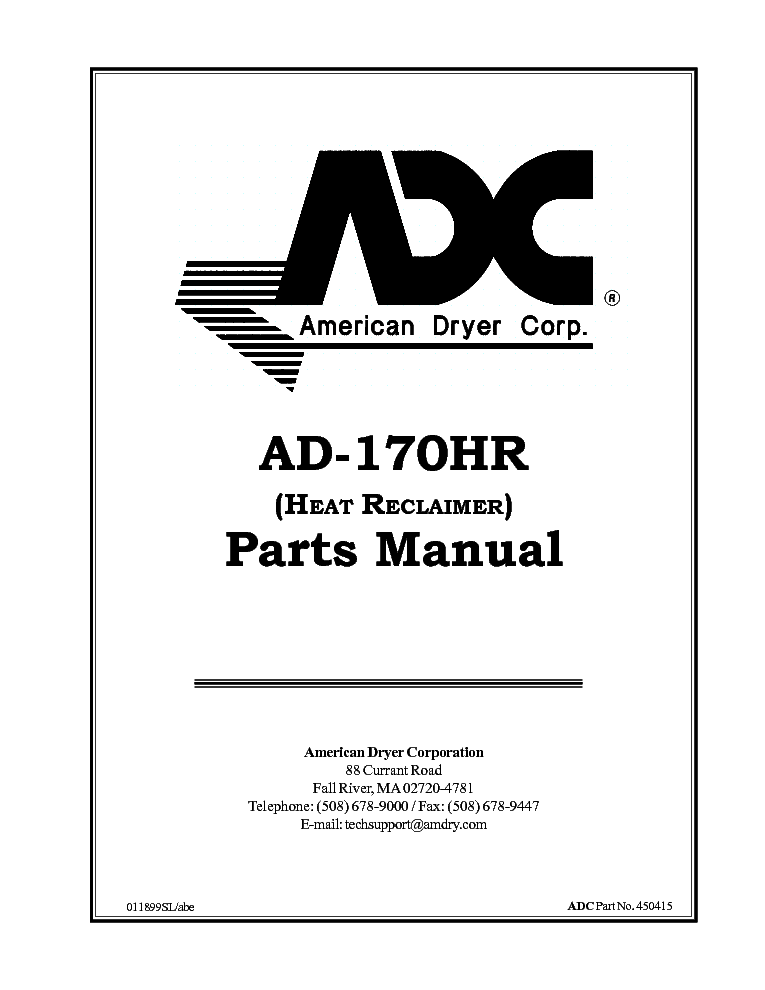 ADC AD-170HR HEAT RECLAIMER Service Manual download