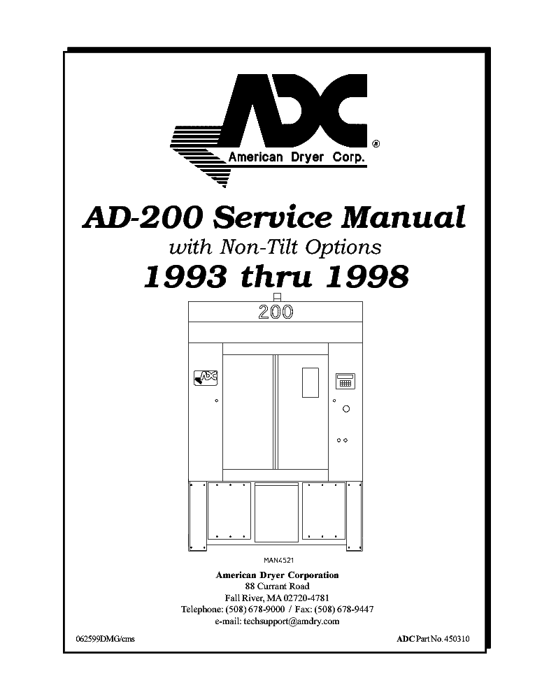 ADC AD 410 CLOTHES DRYER Service Manual download