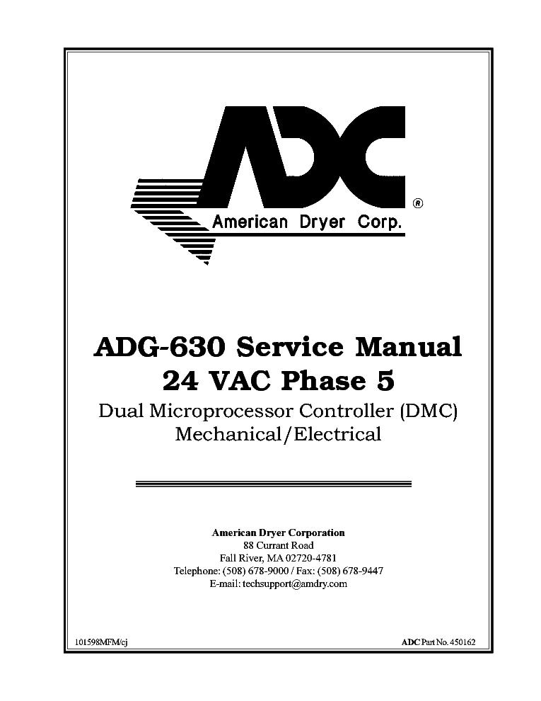ADC ADG-630 24VACPHASE5 DMC MECH-ELECT Service Manual