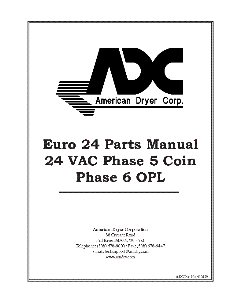 ADC EURO-24 24 VAC PHASE 5 COIN PHASE 6 OPL Service Manual