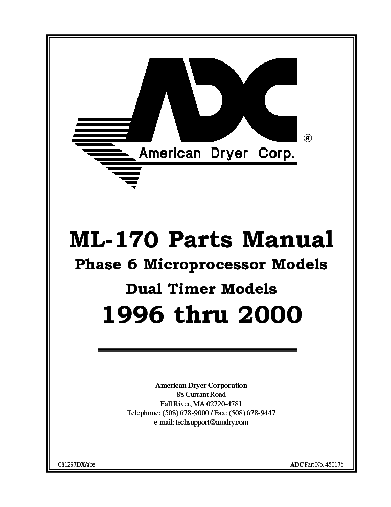 ADC ML-170 PHASE 6 MICROPROCESSOR MODELS DUAL TIMER MODELS