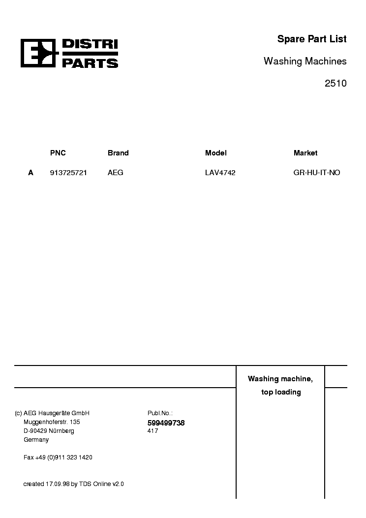 AEG LAV 4742 Service Manual download, schematics, eeprom