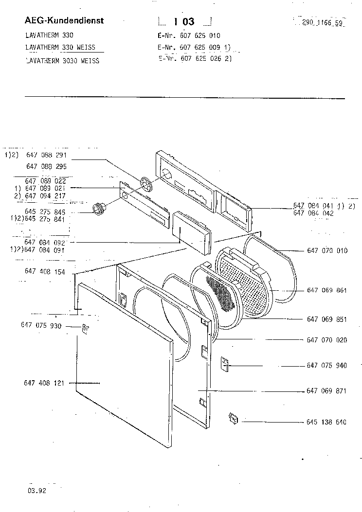 AEG LAVATHERM 330 3030 EXPLODED VIEWS Service Manual