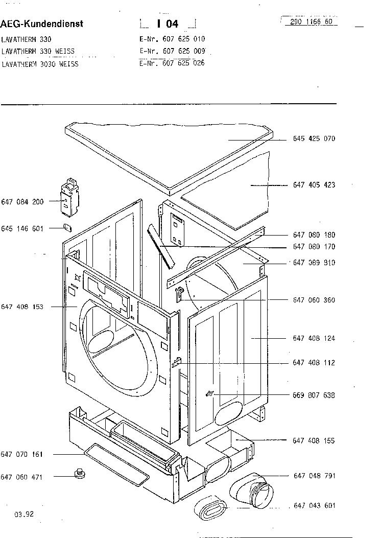 AEG LAVATHERM 330 3030 EXPLODED VIEWS Service Manual