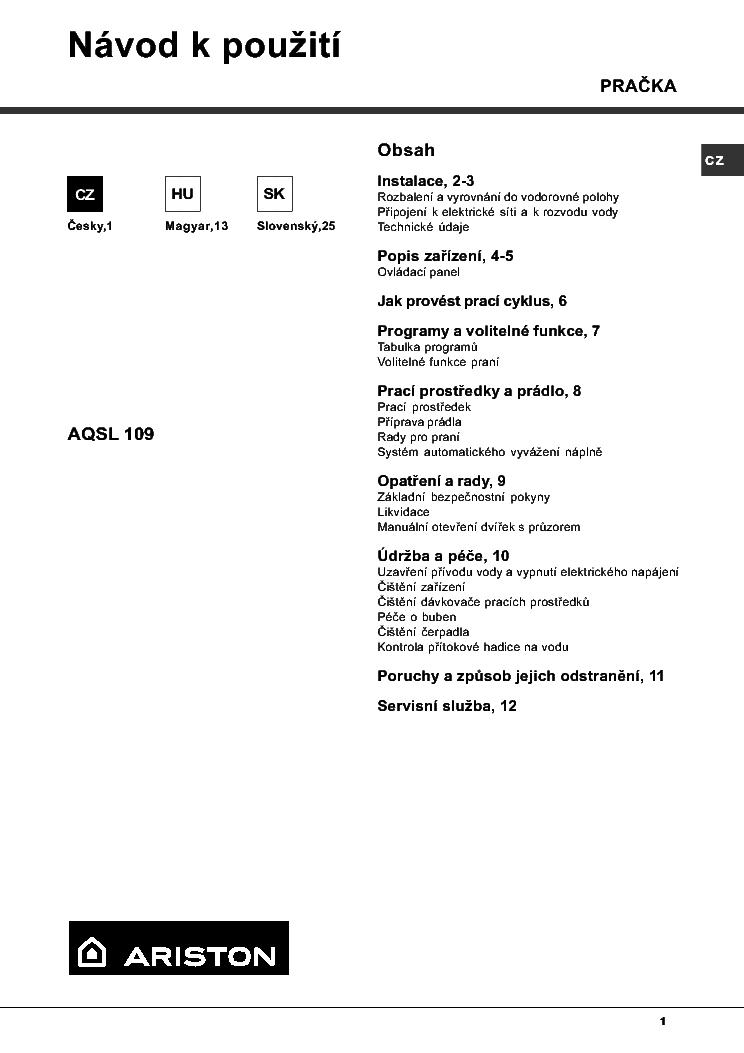 ARISTON AQSL109 Service Manual download, schematics