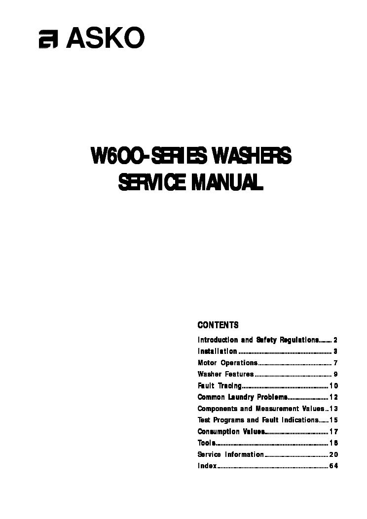 ASKO DW953 DW954 DW955 DW95.FI DISHWASHER SM Service
