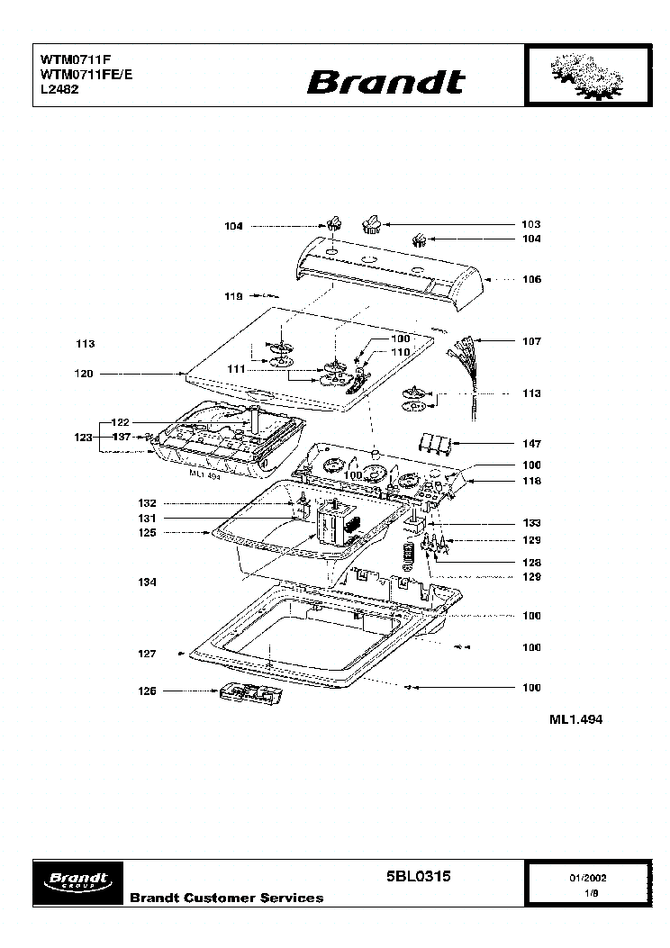 BRANDT WTM0711FEE Service Manual download, schematics