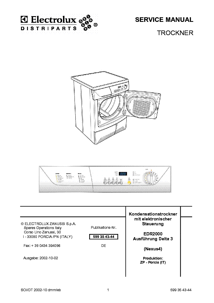 ELECTROLUX EDR2000 Service Manual download, schematics